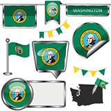 Glossy icons with flag of state Washington