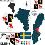 Map of Gavleborg, Sweden