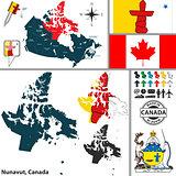 Map of Nunavut, Canada