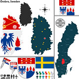 Map of Orebro, Sweden