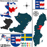 Map of Vasternorrland, Sweden
