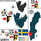 Map of Vastra Gotaland, Sweden