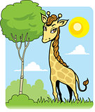 Cute Giraffe and Tree