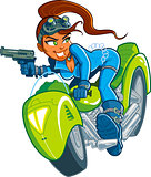 Motorcycle Spy Girl