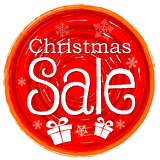christmas sale and gift box on circular drawn red banner with sn