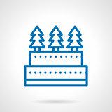 Simple line Xmas cake vector icon