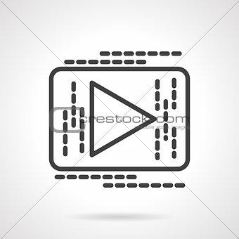 Black line button play vector icon