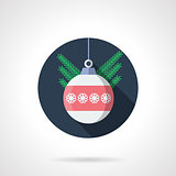 Round flat color vector icon for Christmas ball