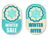 winter sale and offer with snowflake sign