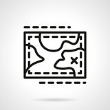 Hiking map simple line vector icon