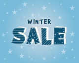 winter sale with stars poster