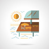 Pier cafe flat color vector icon