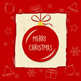 merry christmas in christmas ball in red frame, greeting card