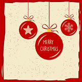 merry christmas in christmas balls in red frame, greeting card