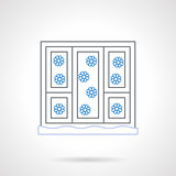 Window with snowflakes flat color line vector icon