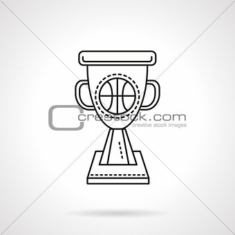 Basketball winner cup flat line vector icon