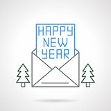 Happy New Year flat line vector icon