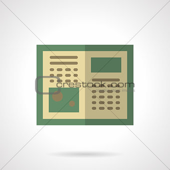 Green tutorial flat color vector icon