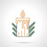 Yellow Christmas candle flat line vector icon