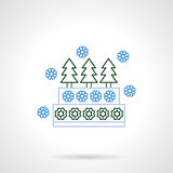 Xmas cake with decorations flat line vector icon