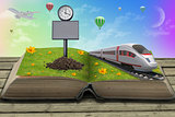 Train on open book with grass