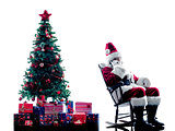santa claus Telephones silhouette isolated