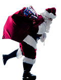 santa claus Running  silhouette isolated