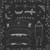 Vector vintage Christmas doodles. Seasonal hand drawn cartoon on black chalk dirty board