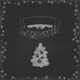 Vector vintage Christmas doodles. Seasonal hand drawn cartoon on black chalk dirty board