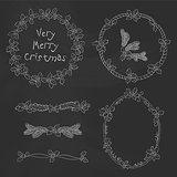 Vector vintage Christmas doodle frames, dividers. Seasonal hand drawn design elements on black chalk dirty board