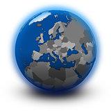 Europe on political globe