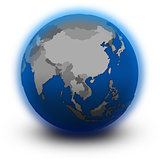 southeast Asia on political globe