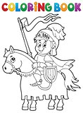 Coloring book knight on horse theme 1