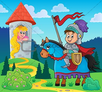 Fairy tale theme knight and princess