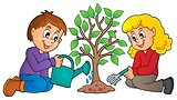 Kids planting tree theme image 1