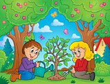 Kids planting tree theme image 2