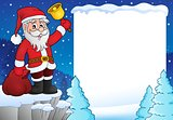 Santa Claus with bell theme frame 3