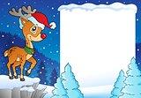 Snowy frame with Christmas reindeer