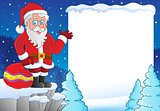 Snowy frame with Santa Claus theme 1
