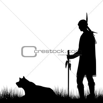 American Indian silhouette with dog