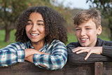 Mixed Race Teenagers Boy & African American Girl