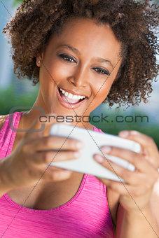 African American Woman Taking Selfie Photograph Smartphone