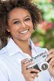 Mixed Race African American Woman With Camera