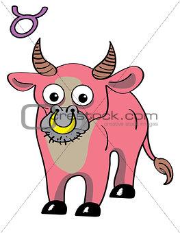 Cute zodiac sign - Taurus. Vector illustration.