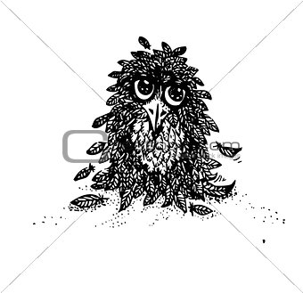 Cute vector owl. doodles. Hand drawn.Cute