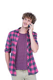 Happy handsome man having phone call