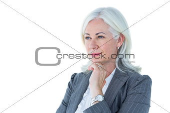 Thoughtful businesswoman touching her chin