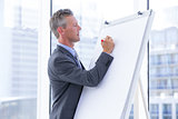 businessman write on whiteboard