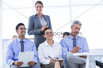 business team taking a note during a meeting
