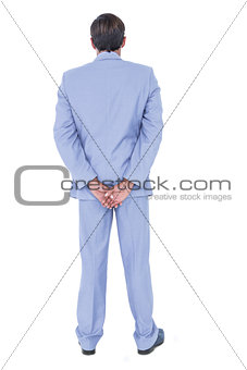 A back turned businessman on a background